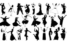 Dancer Silhouette Set Vector