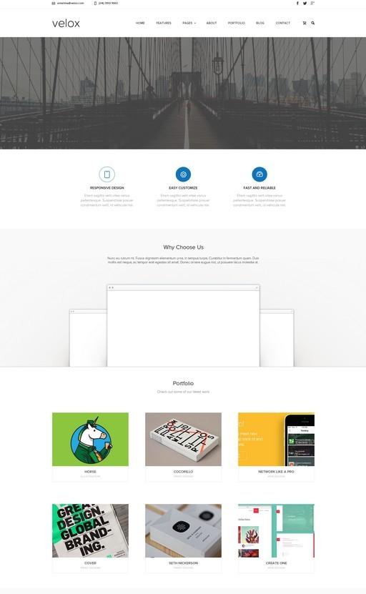 Velox Simple Clean Web Template PSD