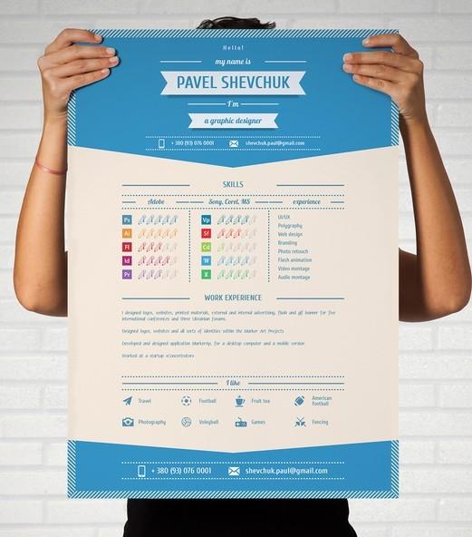 free blue modern cv    resume vector mockup