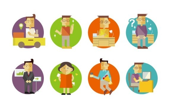 8 Flat Cartoon Business Man & Woman Icons Vector