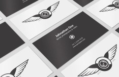 4 Customizable Business Card Mockups PSD