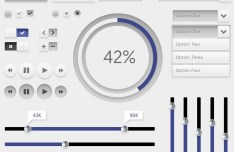 Soft Grey UI Kit PSD