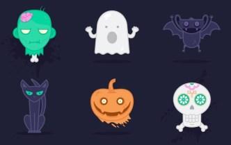 6 Cute Halloween Vector Icons