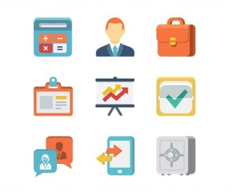 9 Flat Business Icons PSD