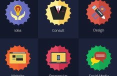 8 Flat Services Badges PSD