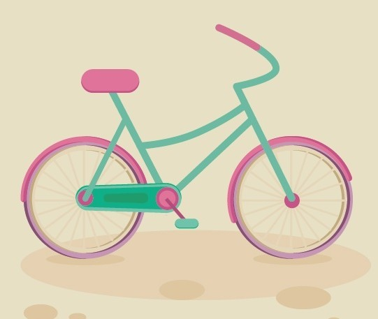 Flat Bicycle Vector Illustration