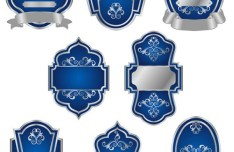 Blue Royal Badges with Labels Vector
