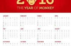 The Year Of Monkey 2016 Calendar Vector