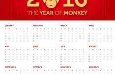 The Year Of Monkey 2016 Calendar Vector