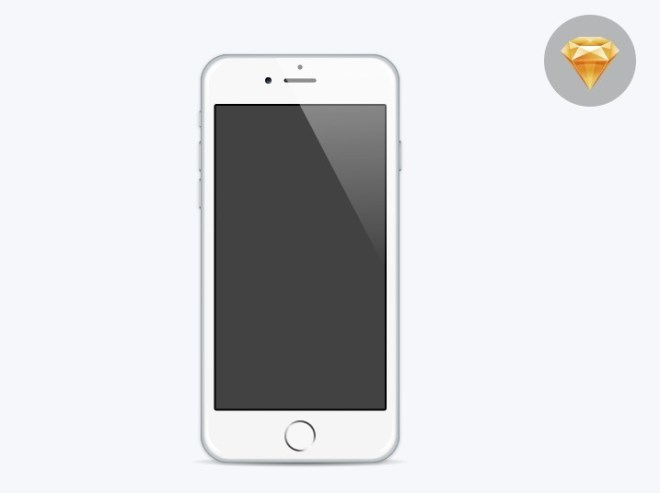 Minimal Flat iPhone 6 Template For Sketch