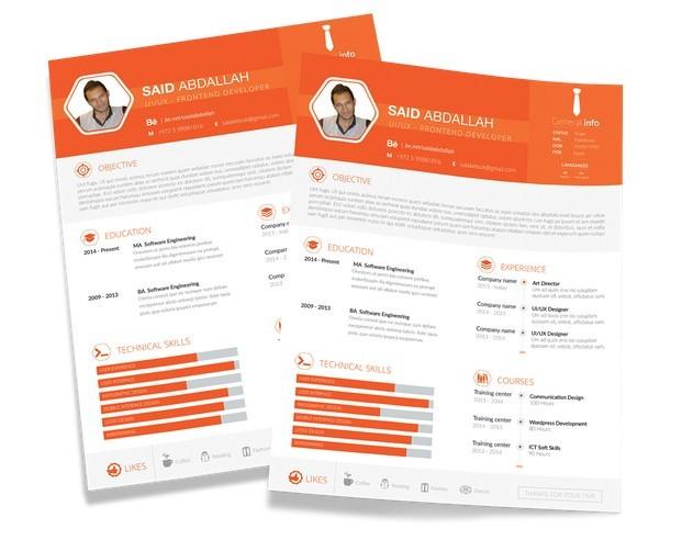 Orange Resume Template PSD