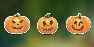 Halloween Spooky Pumpkin Stickers Vector