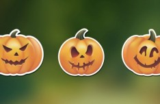 Halloween Spooky Pumpkin Stickers Vector
