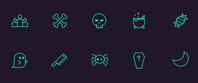 10 Halloween Stroke Icons Vector