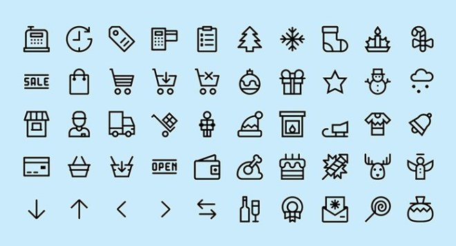50 Christmas & Shopping Icons Vector
