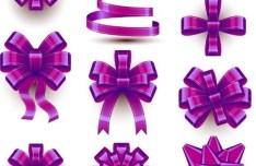 10 Sleek Purple Ribbon Bows Vector