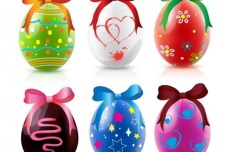 6 Happy Easter Eggs Vector