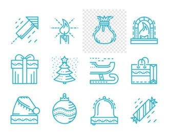 12 Merry Christmas and Happy New Year Line Icons