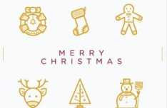12 Christmas Line Icons Vector