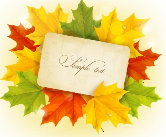 Autumn Leaves Card Template Vector