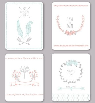 4 Clean Wedding Card Templates Vector