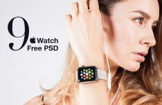 9 Realistic Apple Watch Mockups PSD