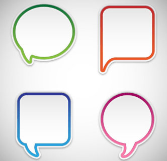 4 Blank Speech Bubbles Vector
