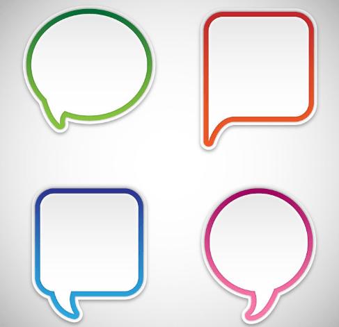 4 Blank Speech Bubbles Vector