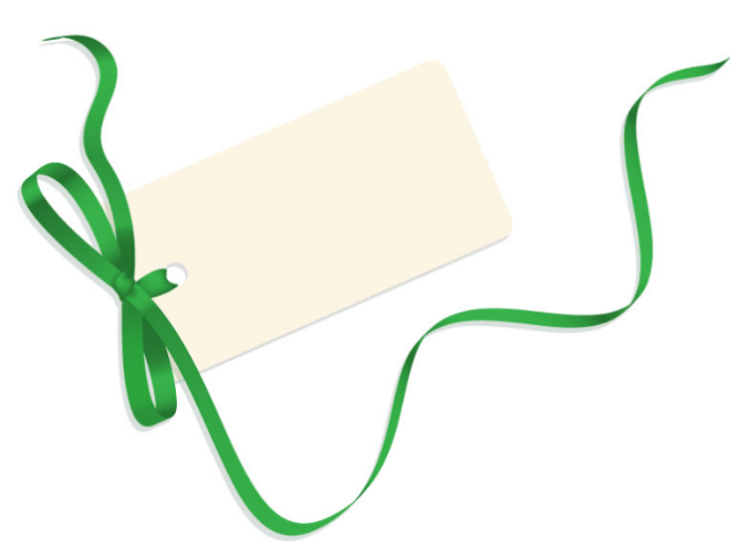 Blank Card with Green Ribbon Vector