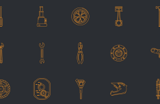 Flat Automotive Line Icon Set Vector