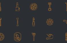 Flat Automotive Line Icon Set Vector