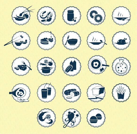 Badge Style Food Icons