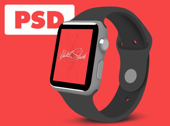 Flat Apple Watch 3 4 View Template PSD