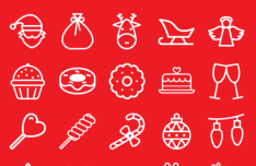 25 Christmas Line Icons Vector