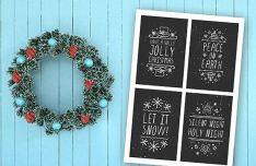 4 Hand Drawn Christmas Labels PSD