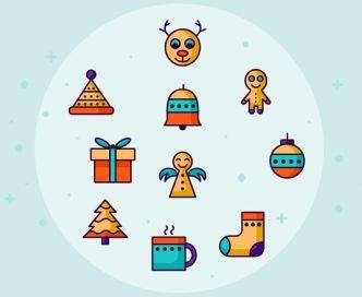 10 Retro Christmas Icons Vector