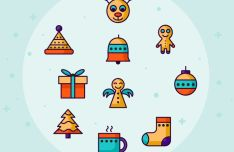 10 Retro Christmas Icons Vector