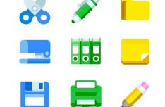 Flat Office Tools Icons Vector