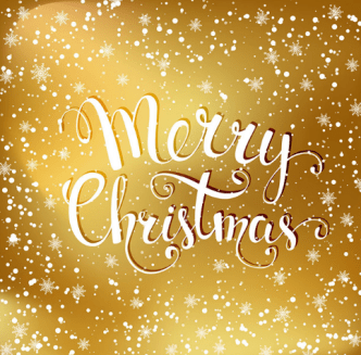 Merry Christmas with Golden Snowflakes Background Vector