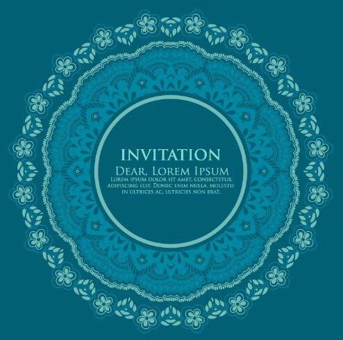 Vintage Blue Circle Floral Invitation Pattern Background Vector