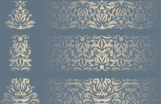 Royal Gold Floral Pattern Set Vector