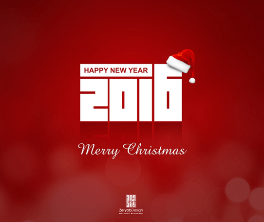 Merry Christmas and Happye New Year 2016 PSD