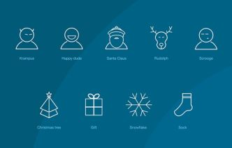 9 Christmas & New Year Line Icons Vector