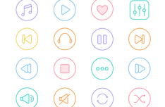 16 Rounded Music Icons Vector