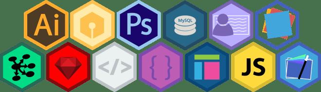 Flat Hexagon Skill Icons & Badges Vector