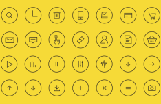 24 Thin Line Circle Icons Vector