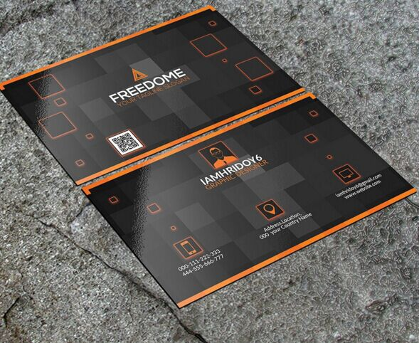 Free Black Orange Modern Business Card Template Psd Titanui