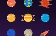 15 Colored Space Icons Vector
