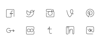 One line Social Icon Pack