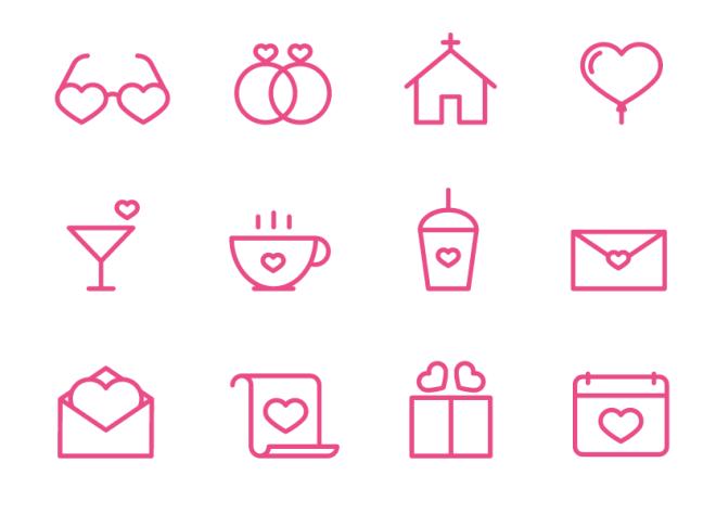 12 Valentine Vector Line Icons
